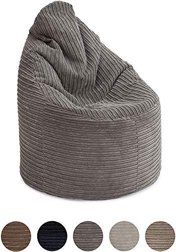 Hippo Bean Bag Chair | Jumbo Cord 'The Rhino' | Gaming Lounger Indoor Living Room | Ergonomic Design (Grey, Bean Bag Chair)