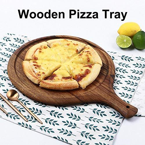 Fancylande Pizzatafel van hout, handvat voor paddle-snijplank, van hoogwaardig bamboe (pizza, brood, groenten, kaas) realistisch