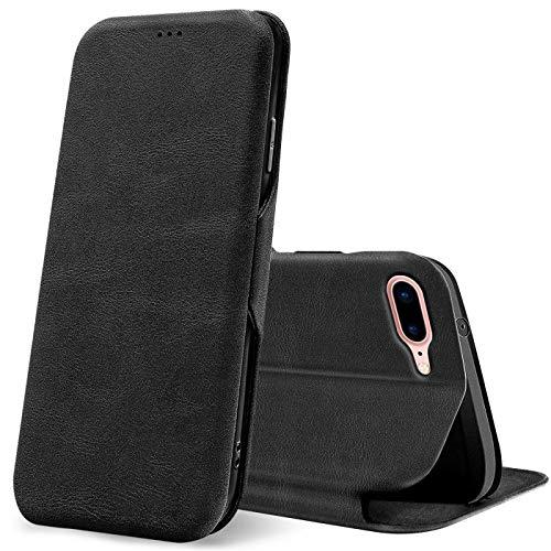 Verco Case per Apple iPhone 8 Plus Custodia, iPhone 7 Plus Cover a Libro Pelle PU per iPhone 7 Plus / 8 Plus Custodia Premio Booklet Protettiva, Nero