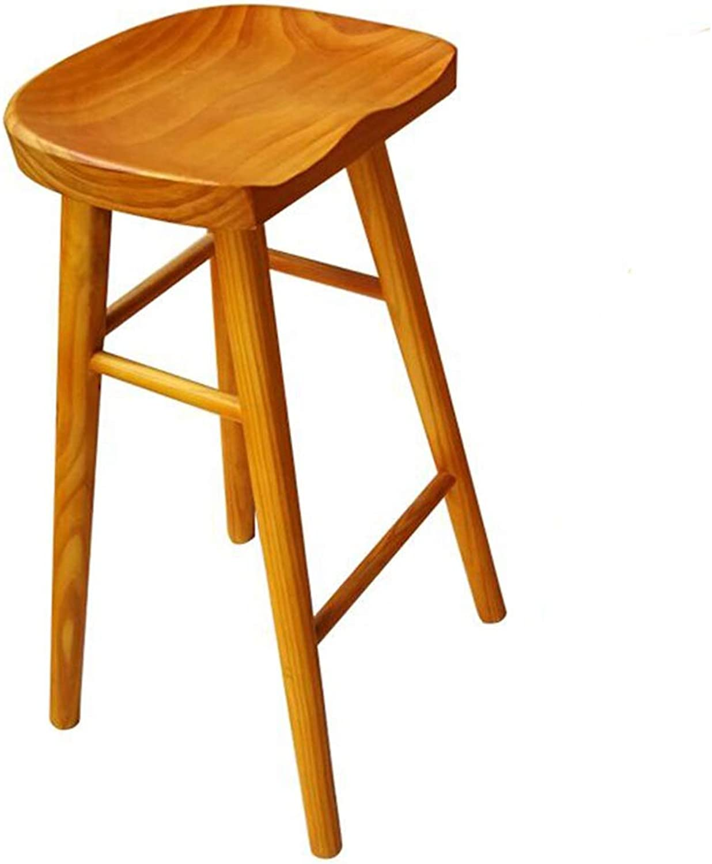 LJFYXZ Bar Stool, bar Chair Bar Restaurant Breakfast Stool Wooden seat Ergonomic Design High Stool Bearing Weight 200kg Yellow (Size   45CM)