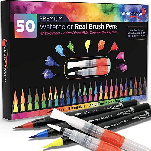 ArtShip Design 50 Bonus Pack Watercolor Brush Pens