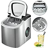 BuoQua 12KG Automatic Ice Maker 220V Silver and Black Stainless Steel Ice Cube