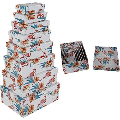 8pieza set regalo o Nou Cajas en Flamingo Diseño en diferentes tamaños