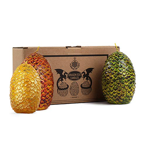 FOLE Game of Thrones Dragon Eggs Candles - Set of 3 - GOT Collectible Gift - Medium Kraft - 4.5 Inches Tall Eggs