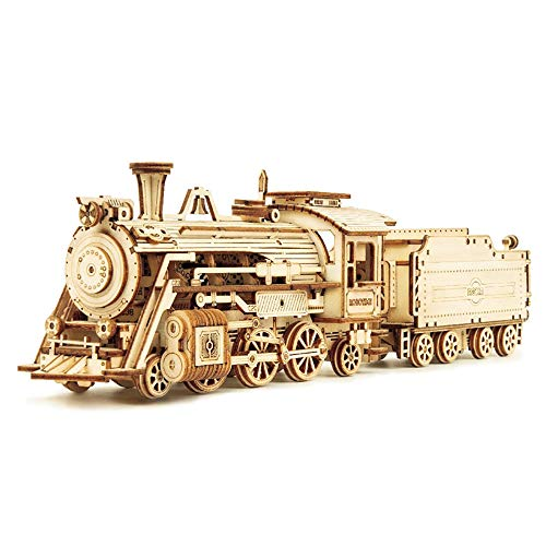 3D Wooden Puzzle, Mechanical Gear Assembly Locomotive Model Craft Toy Vehicle Construction Kit Suitable for Adults/Children The Best DIY Set,steam Train
