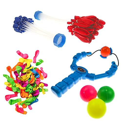 XXL Wasserbomben Set | Wasserbomben selbst-verschließend 100x Wasserballons incl. Wasserballon-Schleuder| Wasser-bomben bunt mit Füllhilfe für Jungen & Mädchen als Beschäftigung für Kinder