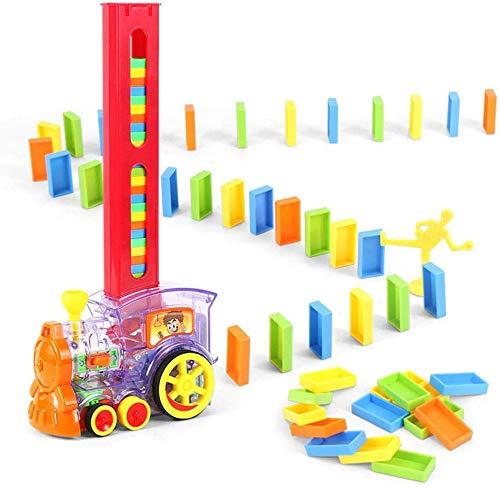 Bsol Dominó Tren Set Juguete, Dominó Rally Electrónico Tren Modelo Colorido Set Juguete, Chica Niño Niños Regalo Niños Juguetes Rompecabezas