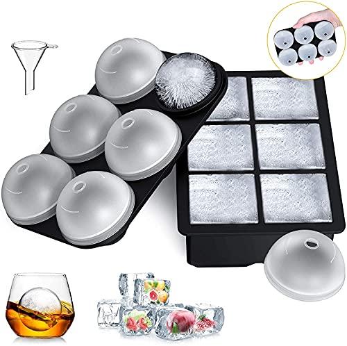 Momou Eiswürfelform Silikon Eiswürfelbehälter mit separatem Deckel 6-Fach 2 Stück groß Quadratische und Eiskugelform Eiswürfelschalen für Whisky Cocktails Saft, BPA-Frei