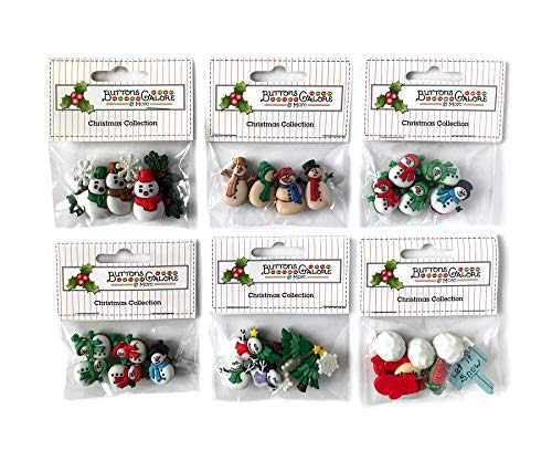 Buttons Galore 60+ Assorted Snowman Buttons for Sewing & Crafts - Set of 6 Button Packs