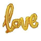 Freessom Ballon Gonflable Mariage Fiancaille Geant Bague I Do Lettres de Love Decoration Ballon Papier d'Aluminium Decoration de Chambre Salle Voiture Cinema Plafond (Dore1)