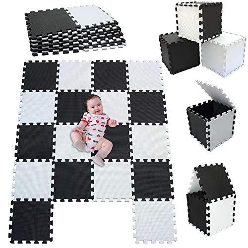 MSHEN18 Piezas Alfombra Puzzle Bebe con Certificado CE y certificación EVA | Puzzle Suelo Bebe | Puede ser Lavado Goma eva,Tamaño 1.62 Cuadrado,blanco-negro-0104g18