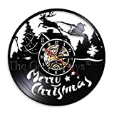 LIMN Reloj, Regalo, 1 Pieza, diseño de Feliz Navidad, Disco de Vinilo, Reloj de Pared, Santa Claus, Querido, luz LED, Arte de Pared Moderno, Regalo Hecho a Mano para niños