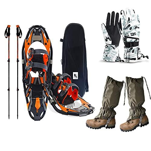 SqSYqz Ciaspole All aperto per Adulti,Racchette da Neve Leggere per Terreni in Alluminio,Regolabili Bastoncini da Trekking,Ghette Impermeabili E Borsa per Il Trasporto,Guanti
