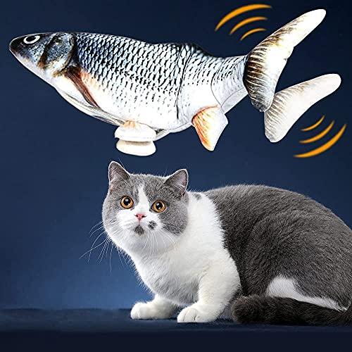 NEWKIBOU Hierba gatera Eléctrica Juguete Pez para Gato, Peluche de Juguete eléctrico de simulación Fish con Carga USB, Mascotas Interactivo de Felpa Pez para morder, Masticar, patear y Dormir