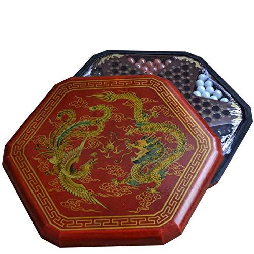 Kaikai Hexagon Tradicional China de Madera Damas Family Game Set-35CM con la Caja de Madera y de 60 Mármoles de Cristal