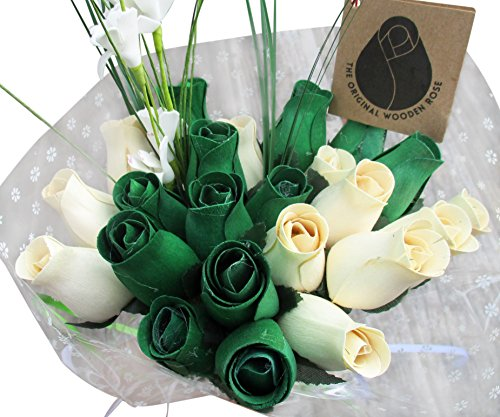 The Original Wooden Rose St. Patrick's Day Green and White Flower Bouquet Closed Bud Roses (2 Dozen)