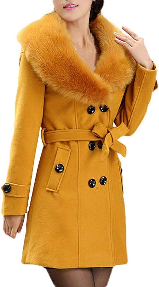 Women's Double-Breasted Slim Wool-Blend Coat Solid Winter Warm Fur Collar Pocket Jacket