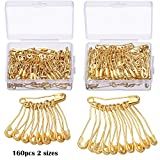 160 Pieces Curved Safety Pins Quilting Basting Pins with Plastic Cases, 2 Sizes, Nickel-Plated Steel (Golden)