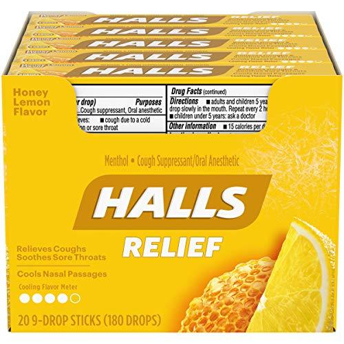 HALLS Relief Honey Lemon Cough Drops, 20 Packs of 9 Drops (180 Total Drops)