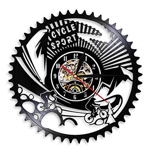 JJYM Muur klok Cyclus Sport Mountainbike Muur Art Muur Klok Gears Mountainbike Vintage Vinyl Record Wandklok Fietsen Fiets Bikers Gift