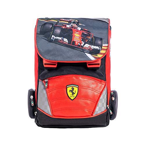 Ferrari - Mochila extensible grande organizada con correas ajustables y respaldo acolchado, perfecta para la escuela y el tiempo libre + modelo Ferrari de colección Rojo rojo Zaino + Modellino