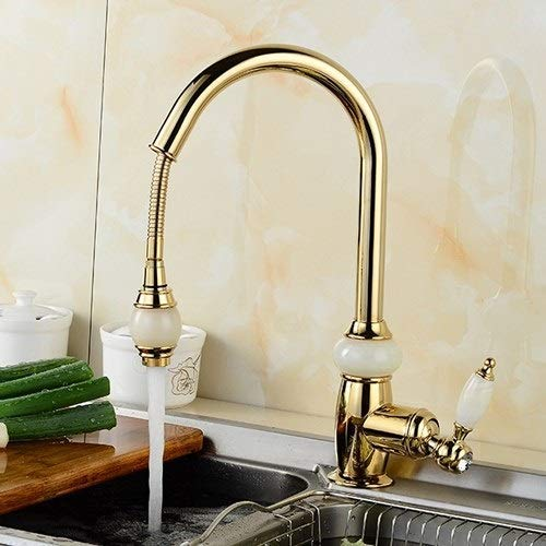 KAISIMYS Modern Commercial Single Handle Single Hole Pull Down Sprayer Kitchen Tap,Swivel Sprayer Mixer Tap Provided Delle Rosa For Bathroom Washing Basin Sink (Color : Gold)