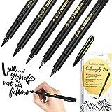 Stylo de Calligraphie Stylo Brosse de Recharge pour Caractères, 4 Tailles Pinceau Stylo Marqueur Calligraphie Set (5 Stylos Pinceaux et 1 Recharge)