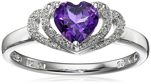 Sterling Silver Amethyst and Diamond Accent Open Halo Heart Ring, Size 6