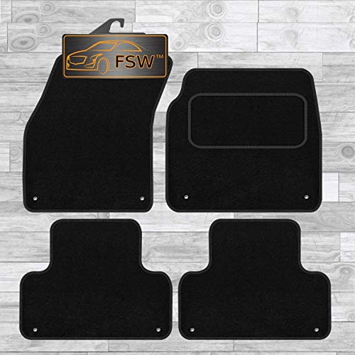 FSW - Tailored Car Mats & Carpets - Range Rover Evoque 2011-2013 - Black Carpet - Anti Slip Mat - Non Slip Car Floor Mat, Fitted With Clips & Granulated Backing - 4 Pc Floor Mat Only