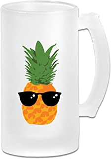 Pineapple With Sunglasses Glass Beer Mug With Handle, 16 OZ / 500 ML Large Pub Beer Glass For Freezer