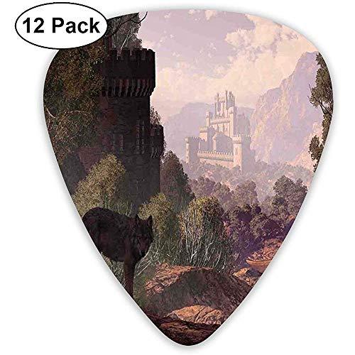 Gitaar kiest 12-Pack, Een Wolf Komende Uit Het Bos Met Een Gotisch Kasteel Lake Boot Uit In De Afstand