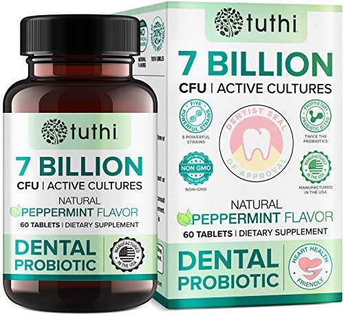 Tuthi Oral Probiotics - Dental Probiotic for Bad Breath & Gum Care - 7 Billion CFU - Fresh Mouth Health & Teeth Treatment - 60 Lozenges