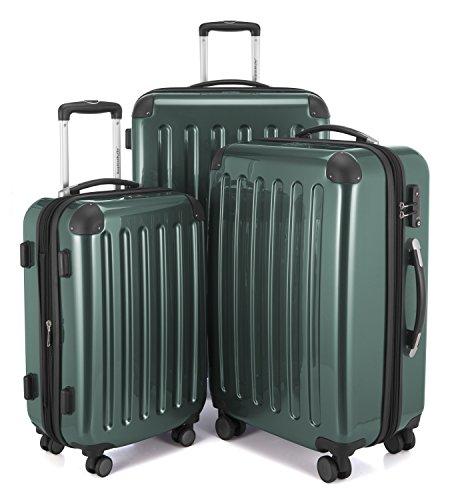 HAUPTSTADTKOFFER - Alex -  4 Doppel-Rollen 3er Koffer-Set Trolley-Set Rollkoffer Reisekoffer, TSA, (S, M & L), Waldgrün
