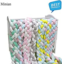 2/3M Knot Soft Baby Bed Bumper Crib Sides 4 Braid | Newborn Crib Pad Protection Cot Bumpers Bedding for Infant (Light Green, 2M)