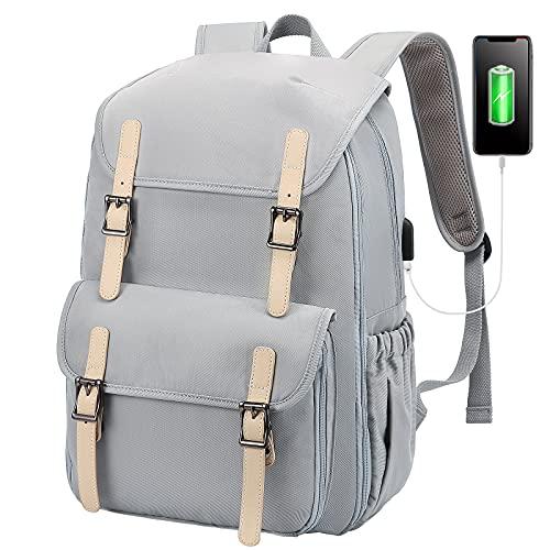 LOVEVOOK Laptop Rucksack Damen 15,6 Zoll, Wasserdicht Groß Schulrucksack Jungen Teenager mit USB Ladeanschluss, Schultasche Daypack für Schule Reise Uni Camping Grau