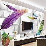 XHXI Papel tapiz fotográfico moderno 3D estereoscópico cuadrado caja celosía moda pluma para sala de estar sof Pared Pintado Papel tapiz Decoración dormitorio Fotomural sala sofá mural-400cm×280cm
