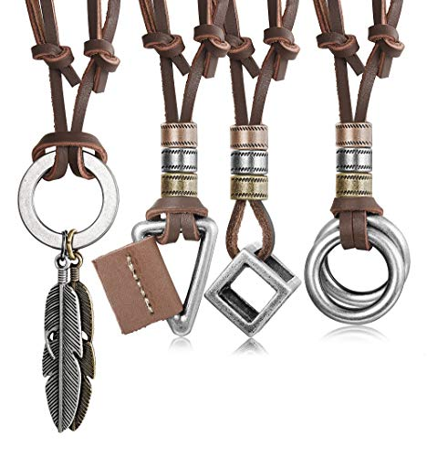 JOERICA 4pcs Leather Necklace for Men Women Vintage Feather Cube Chain Necklace Adjustable (B:Brown)