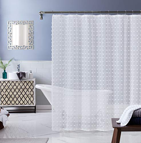 Dainty Home Cut Modern Flower 3D Linen-Look Fabric Shower Curtain 70 inch x 72 inch, Textured Solid White