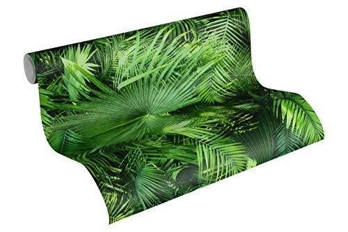 Livingwalls Vliestapete Neue Bude 2.0 Tapete mit Palmenprint in Dschungel Optik 10,05 m x 0,53 m grün schwarz Made in Germany 362001 36200-1