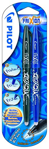 Pilot Frixion 0.7 mm Rollerball Pen - Blue/Black (Pack of 2), 224200213