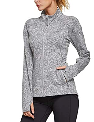 BALEAF Women's Fleece Bodyfit Full-Zip Pocketed Collared Long Sleeved Running & Track Jacket with Thumb Holes Heather Grey Size L