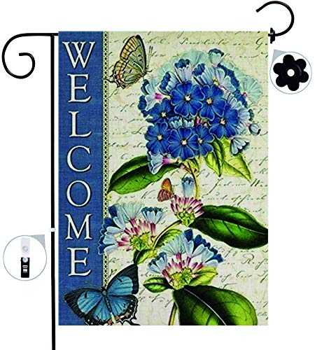VOLYIN Garden Flag, Double Sided Myosotis silvatica Butterfly Holiday Yard Farmhouse Lawn Patio Decorative Burlap Seasonal Flag for Outside with Stopper Outdoor Home D