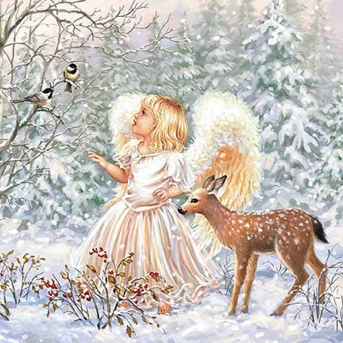 Papier Servietten Winter Angel Lunch Party Fest Ca. 33x33cm fuer Herbst Winter Weihnachten