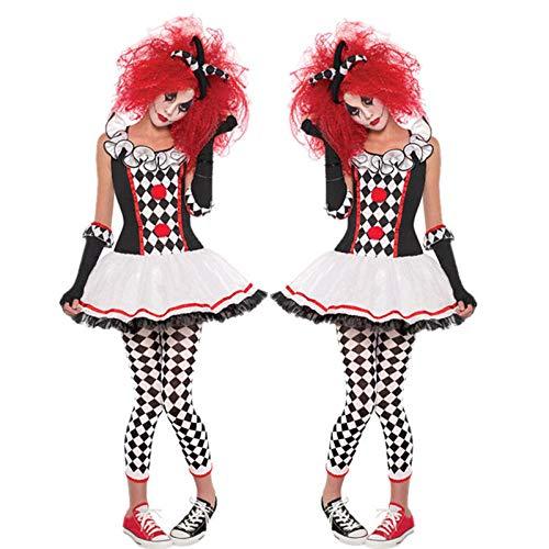 KHDFYER Dessou Deluxe Halloween Kostüm Frauen Erwachsene Lustige Zirkus Clown Kostüme Horror Geister Cosplay Karneval Quinn Honig Joker Party Kleid-1_M.