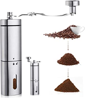 AVNICUD Manual Coffee Grinder, Hand Coffee Grinder with Adjustable Conical Ceramic Burr, Triangular Stainless Steel Mill with