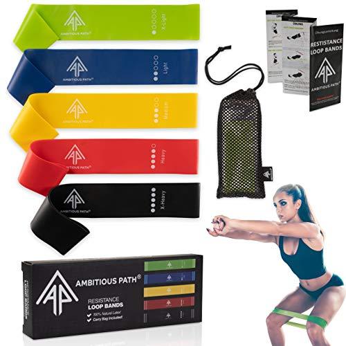 Ambitious Path Mini-Fitnessbänder/Widerstandsbänder 5er Set + deutsche Anleitung und luftdurchlässigem Tragebeutel, Gymnastikbänder, Therabänder, Yogabänder
