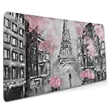 Professional Large Mouse Pad Gaming Vintage Art France Paris Eiffel Tower Pink XXL Extended Keyboard Mouse Pad Long 90x40 Gamer Computer Huge Mouse Pads Desk Mousepad for Women Men Laptop Non-Slip