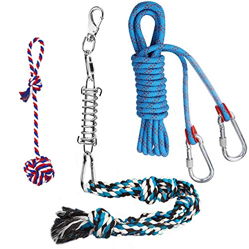 Spring Pole Dog Rope Toys with a Big Spring Pole Kit, 2 Different Twisted Cotton Rope Chew Toys and a 16ft Rope - Safe for Dogs to Pulling, Chasing, Chewing, Teasing, Training