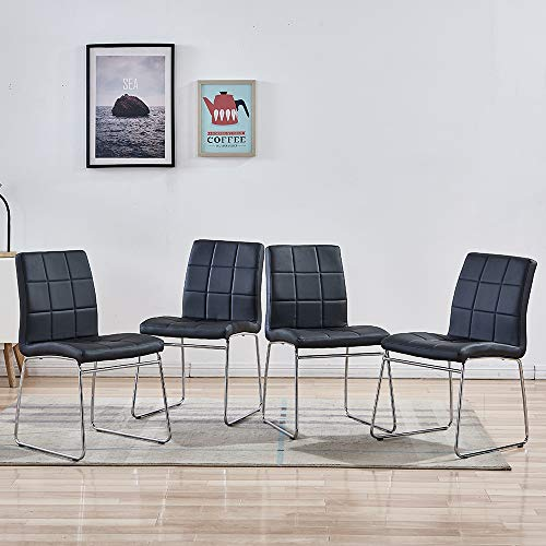 Enjowarm Dining Chairs Modern Black Faux Leather Metal Waiting Room Chairs Side Kitchen Dining Room Chair Armless Upholstered Ergonomic Office Chairs (Set of 4)