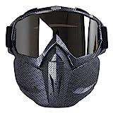 KOBWA Motocross Schutzbrille Maske, Open Face Winddichte Gesicht Maske Schutzbrillen für Motocross Ski Snowboard Outdoor Sportarten (Carbon Fiber)